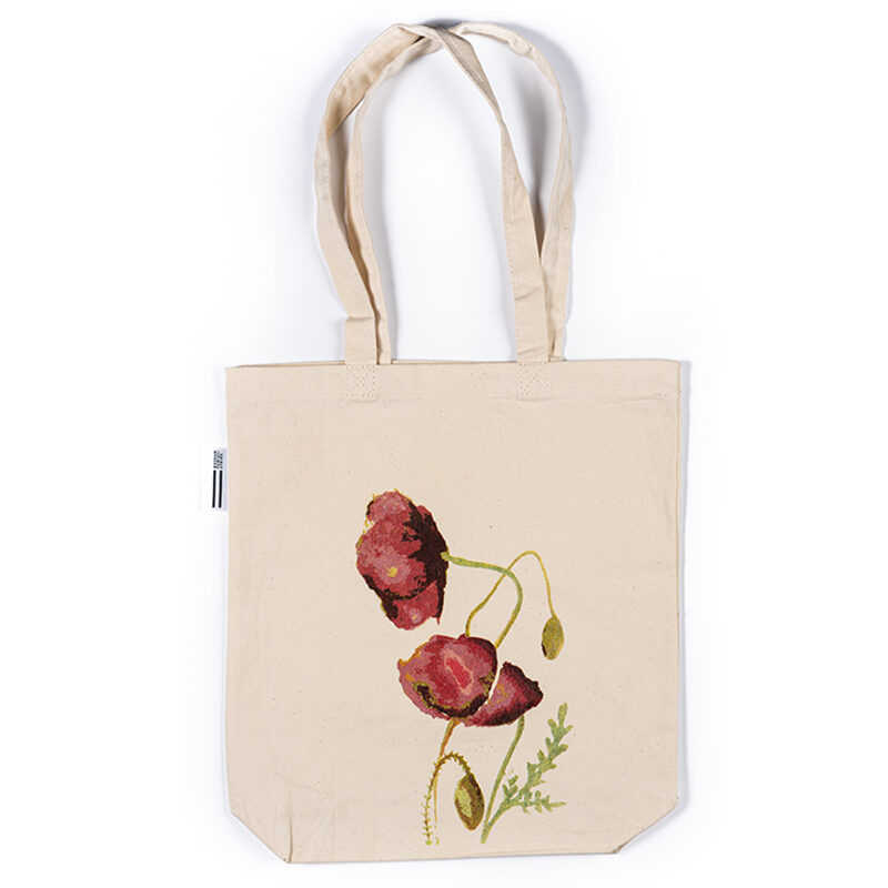 Bawełniana torba z motywem roślinnym maku syberyjskiego i logo Muzeum Pamięci Sybiru