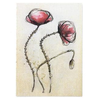 Kartka pocztowa z motywem roślinnym (mak)