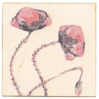 Magnes na sklejce z motywem roślinnym (mak)