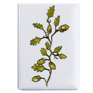 Magnes prostokątny powlekany z motywem roślinnym (dąb)
